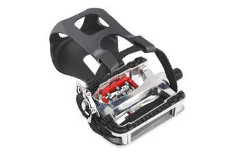 CyclingDeal Fitness Exercise Spin Bike Shimano SPD Compatible Pedals with Toe Clips & Straps