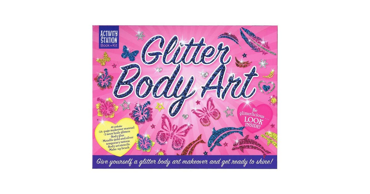 Dick Smith Glitter Body Art Activity Station Book Kit Kids Children Picture Books Early Learning