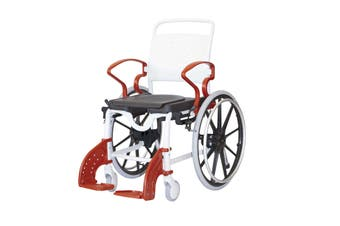 Rebotec Genf - Self Propelled Shower Commode Wheelchair, Red