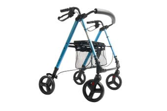 DJMed Height Adjustable Rollator, Light Blue