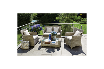 GLEN IRIS - Cozy 4 Seater Balcony Patio Wicker Lounge Set