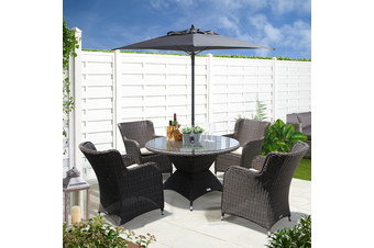ORMOND - Affordable 5 Piece Outdoor Wicker Round Table Dining Set