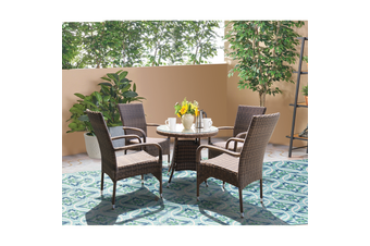 DONVALE - 5 Piece Balcony Patio Round Table and Stacking Chair Set
