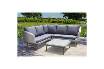 MITCHAM - Fashionable 5 Seater Timber Wicker Corner Lounge Set