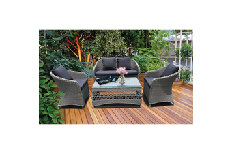 PRESTON - Lovely 4 Seater Balcony Patio Wicker Lounge Set