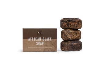 Deluxe African Black Soap 3 Pack 450g - All Natural, Certified Organic, Fair Trade Soap