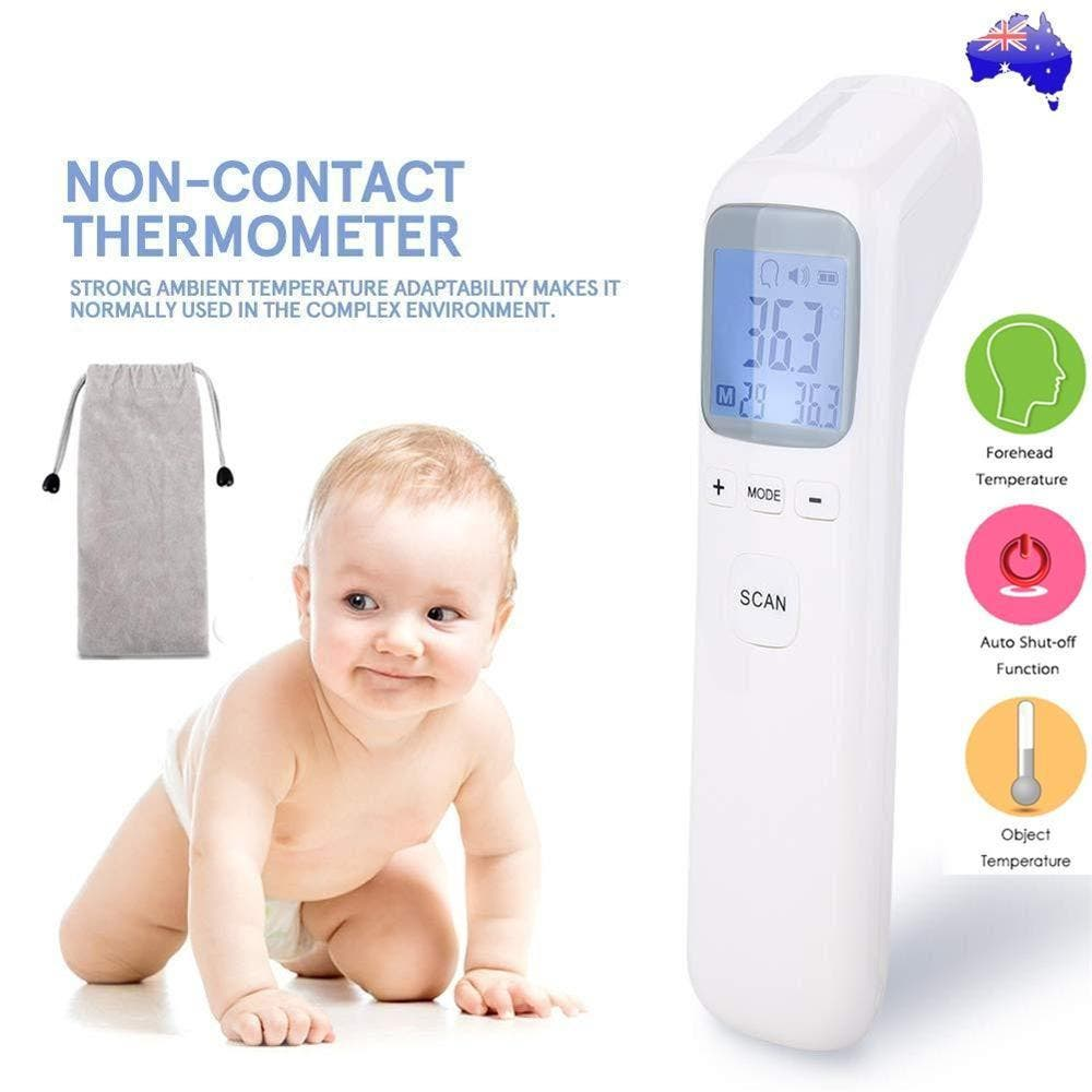 Baby Adult Digital Thermometer Infrared Non-touch Forehead Body Temperature Gun Features:    Dual Mode — The digital thermometer is designed for adults, infants and elders. It not only could measuring temperature as forehead thermometer ,switching measurement mode at any time to take object temperature easily. Non Contact Thermometer for Adults — This infrared thermometer is equipped with exceptional microchip and a high sensitivity sensor. Measure human body temperature by absorbing infrared energy from forehead of human.Get temperature reading quickly without contact, safe and accurate. Fast and Easy to use —Taking your temperature with this baby thermometer is as simple as pointing and pressing a button,it comes with fever alarm. A maximum of 32 previous readings is available ,It is more convenient to help you track the changes of body temporal temperature, monitor the health of family members. LCD Display and Fever Alarm — Thermometer can be used in the dead of night without even switching on the light. The result of LCD displays is clear and easy to read. And free choice of degrees Fahrenheit or Celsius.    Specifications:  1. Multiple mode use:Forehead thermometer with surface function 2. Non-Contact and Fast 1-second measurement 3. Fever alert and 32 reading recalled. 4.Two measuring units (℃ and ℉) 5.Upgrade smart Chip will ensure the excellent performance of the thermometer. 6.Large LED Display 7. Power:2 x AAA Batteries (not included)  Note: Please read the included instruction manual carefully to avoid any misuse and keep it for future reference. It is normal to obtain a slight variation in temperature readings when taking temperatures from different parts of the body. When the battery voltage is lower, the low battery symbol will appear on the display,you need replace the battery in time not to disturb usage.  Package:  1x IR Thermomenter 1x Storage Bag 1x Manual