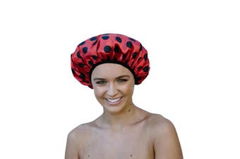 Dilly's Collections Luxury Microfibre Shower Cap Bath Hat Hair Care Protection - LADYBUG
