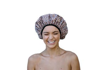 Dilly's Collections Luxury Microfibre Shower Cap Bath Hat Hair Care Protection - LEOPARD