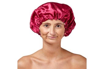 Dilly's Collections Satin Stretch Elastic Band Lightweight Reversable Sleeping Cover Cap - PINK