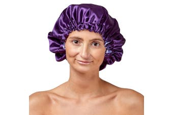 Dilly's Collections Satin Stretch Elastic Band Lightweight Reversable Sleeping Cover Cap - PURPLE