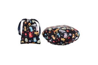 Dilly's Collections Waterproof Shower Cap w/ Matching Satin Bag - CATS