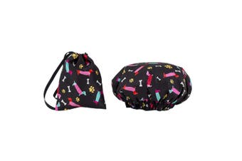 Dilly's Collections Waterproof Shower Cap w/ Matching Satin Bag - DOGS