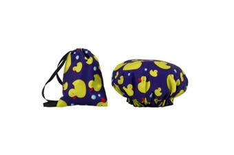 Dilly's Collections Waterproof Shower Cap w/ Matching Satin Bag - DUCKS