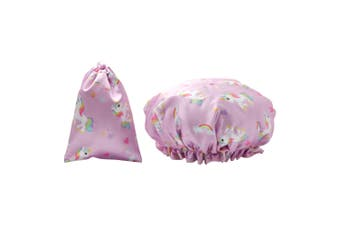 Dilly's Collections Waterproof Shower Cap w/ Matching Satin Bag - UNICORN