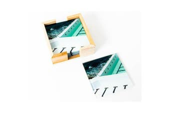 Artist Lab - JD - Stripes Coastal Glass Coaster Set (MIN 2)