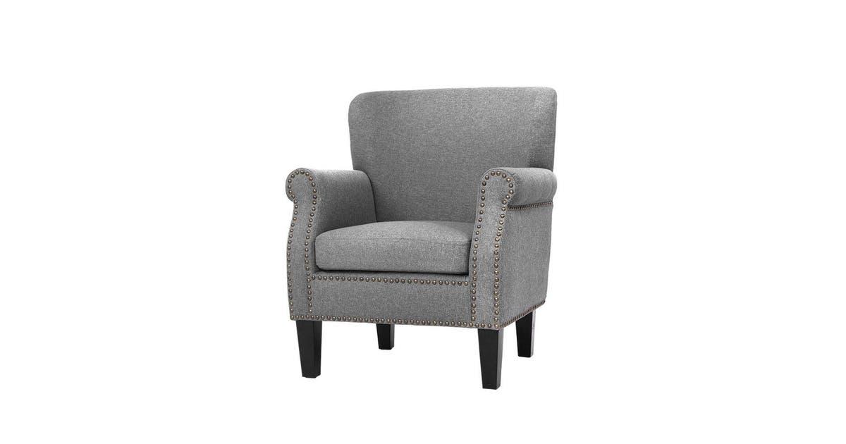 Artiss Armchair Accent Chair Retro Armchairs Lounge Accent Chair Single Sofa Linen Fabric Seat Grey Matt Blatt