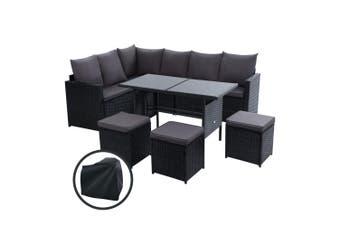 Gardeon Outdoor Furniture Dining Setting Sofa Set Wicker 9 Seater Storage Cover Black