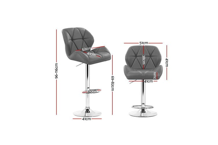 Artiss 2x Bar Stools Gas Lift Kitchen Swivel Chairs Leather Chrome Grey