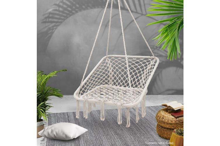 Dick Smith Gardeon Camping Hammock Chair Outdoor Hanging Rope Portable Swing Hammocks Cream Home Decor
