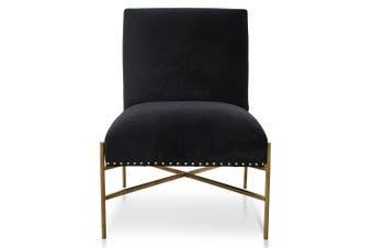CLC2613-BS Lounge Chair In Black Velvet - Brushed Gold Base