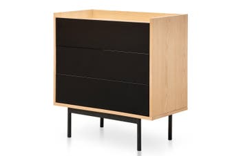 CDT2514-KD Natural 3 Drawer Chest Natural - Black Drawers