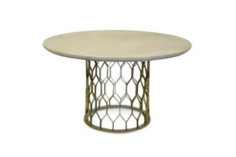CDT2441-CO 1.4m Round Dining Table - Grey - Brass