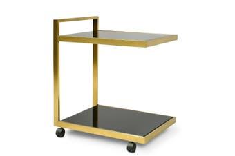 CBR007-KS Bar Cart - Tempered Glass - Gold  Base