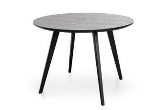 CDT2305-SD 100cm Round Dining Table - Black Veneer Top - Black Legs