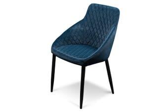 CDC6121-ST Dining Chair - Navy Blue Velvet with Black Legs