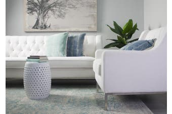 Shelly Decorator Stool - 100% Ceramic / White