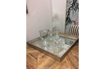 Regal Mirrored Square Tray - 70% Mdf,30% Glass / Mirrored
