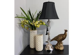 Felicienne Champagne Table Lamp w/Black Shade - Polyresin & Perspex / Champagne, Black & Perspex