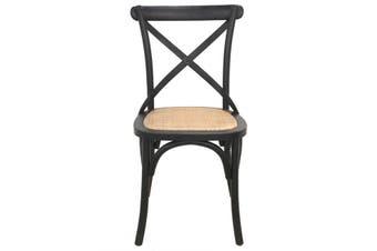 Crossback Dining Chair Black - Birch,Rattan / Black/Natural