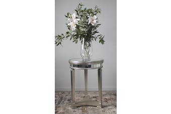 Mirrored Pedestal Round Side Table Antiqued Ribbed - Timber/Mirror / Champagne/Mirror