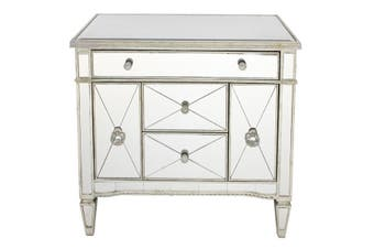 Mirrored Dresser Nightstand Antique Ribbed 5 drawers - MDF with Timber Trim / Mirror
