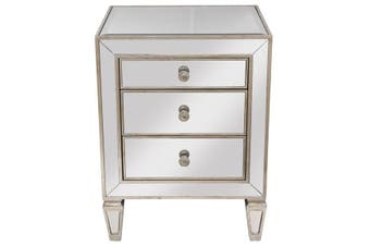 Mirrored 3 Drawer Bedside Antique Seamless - Timber\/Mirror / Mirror