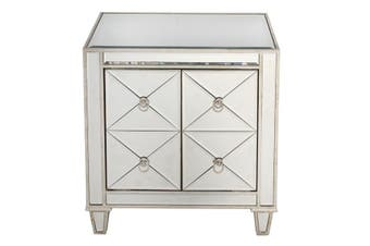 Bently Mirrored Bedside Table - MDF Glass / Mirror