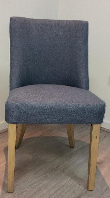 Picture of: Ophelia Dining Chair Denim Blue Frame Pine Legs Birch 15 Linen 85 Polyester Ring Chrome Plated Steel Nap Cream Matt Blatt