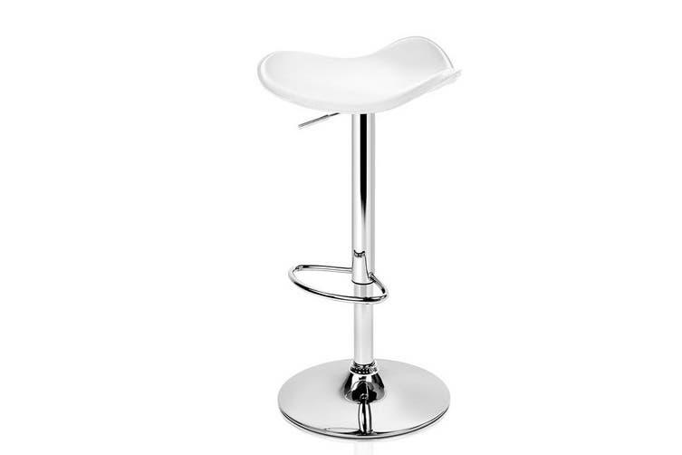 Artiss 2x Gas Lift Bar Stools Swivel Chairs Leather Chrome White