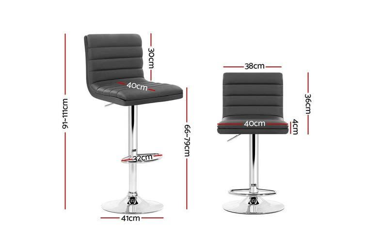 Artiss 2x Gas lift Bar Stools Swivel Kitchen Chairs Leather Chrome Grey