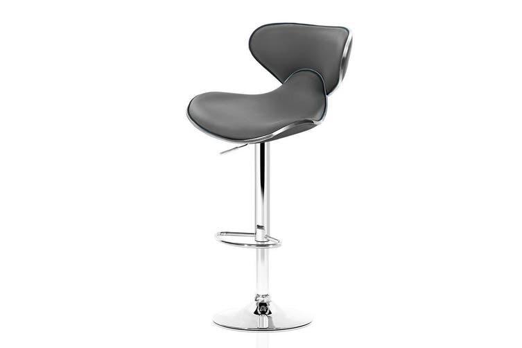Artiss 2x Bar Stools Gas lift Swivel Chairs Kitchen Leather Chrome Grey