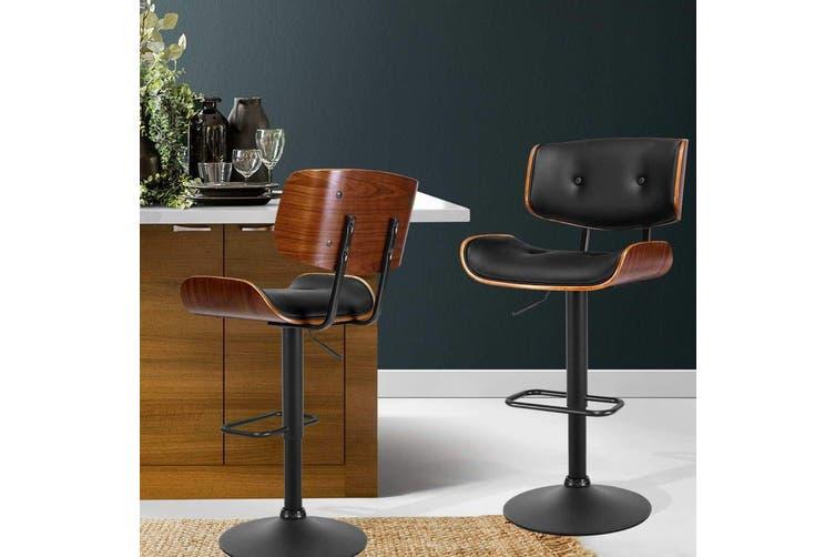 Artiss Kitchen Bar Stool Gas Lift Stool Chairs Swivel Barstool Leather Black x1