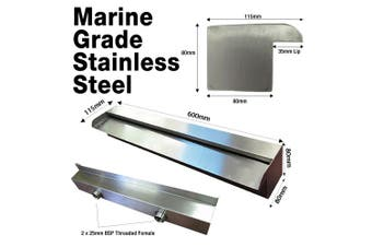 Luponds 600mm Marine Grade Stainless Steel Water Wall Blade with 35mm Lip