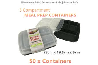50 x Meal Prep 3 Compartment Food Storage Containers Plastic Microwave Lunch Box