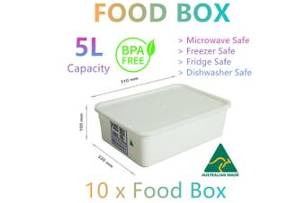 10x Food Storage Container Boxes 5L Microwave Fridge Freezer Lunch Camp Picnic