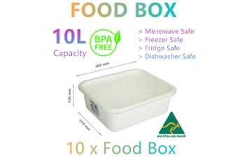 10x Food Storage Container Boxes 10L Microwave Fridge Freezer Lunch Camp Picnic