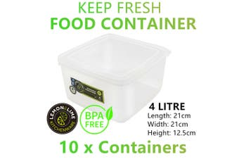 10x Food Storage Container 4L BPA FREE Plastic Boxes Picnic Camping Fridge Clear