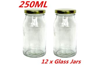 12 x 250ML Glass Conserve Jars Preserving Jar Lolly Candy Jam Gold Color Seal Lid WMC