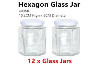 12x Hexagon Glass Jar 400ML Jars Food Storage Bottle Bonbonniere Lolly Jam Honey